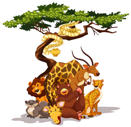 Different kind of animals by the tree Vector
