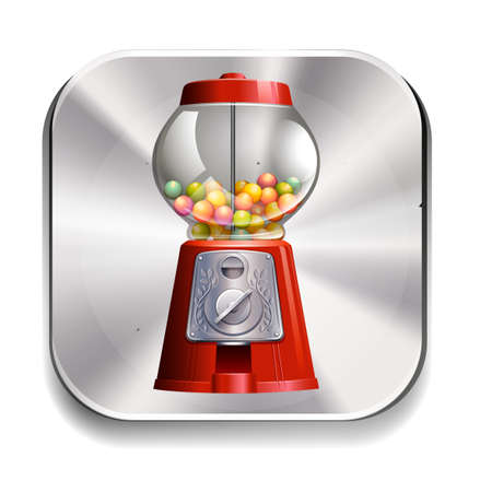excitment: Icon of a gumball machine on white background