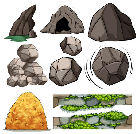 Different design of cave and rocks Illustration