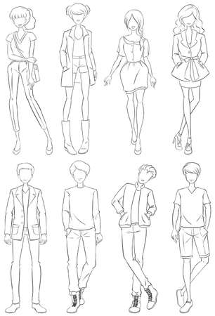 jeans skirt: Eight different styles of clothing in simple line drawing