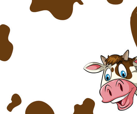 cow skin: Blank banner with cow skin and head background