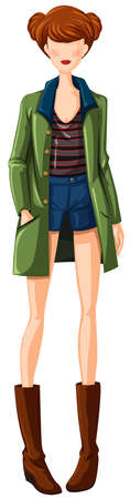 overcoat: Sketch of woman in shorts and overcoat
