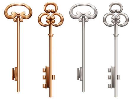 metalic design: Set of vintage keys made of gold and silver Illustration