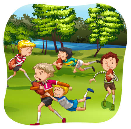 practicing: Rugby players practicing on the field Illustration