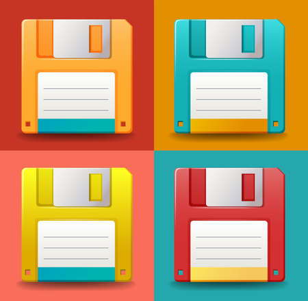 Set of colorful floppy disc