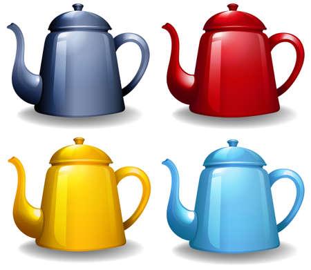 kettles: Cuatro colores diferentes de calderas con un diseño sencillo Vectores
