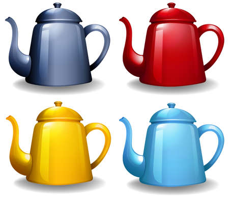 yellow tea pot: Four different colors of kettles with plain design