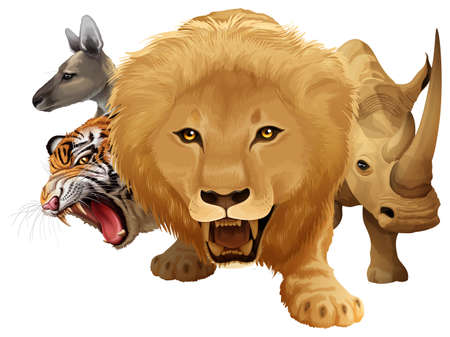 tiger white: Many wild animals living together Illustration