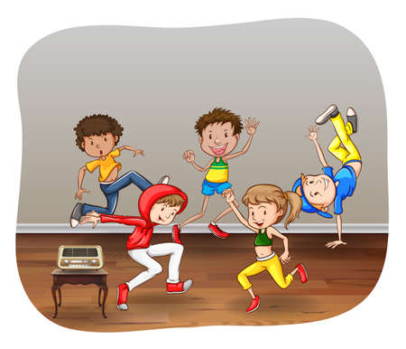 radio active: Children dancing in a room on white background Illustration