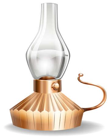oil lamp: Oil lamp bronze color on white background
