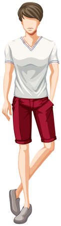 male model: Male model in white t-shirt and red shorts
