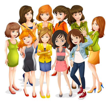 chat group: Group of female standing together on white background
