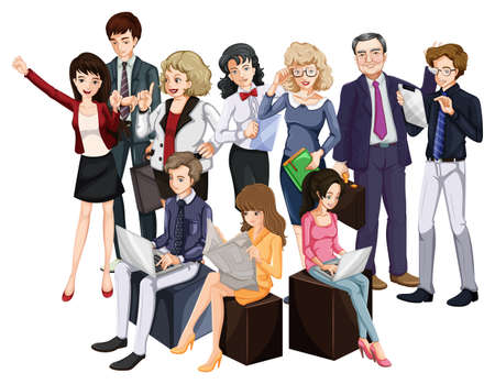 attire: Group of people in formal attire on white background Illustration