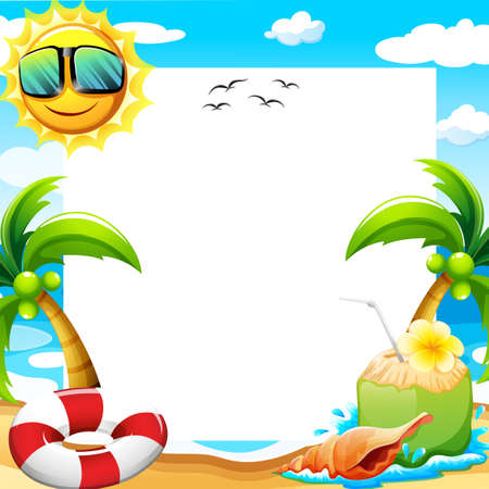 sun beach: Blank poster with beach view at daytime