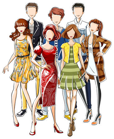western theme: Sketch of group of male and female in fashion clothing