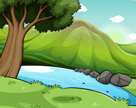 forest clipart: Scenery of a green environment with river and hills