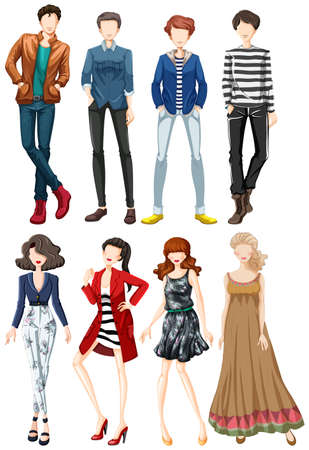 both: Collection of fashion clothes both male and female Illustration