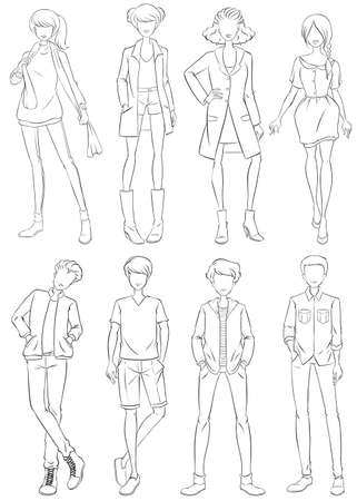 sketch: Sketch of men and woman in fashion clothing