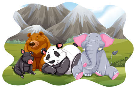 Animals sitting in the middle of the field Vector
