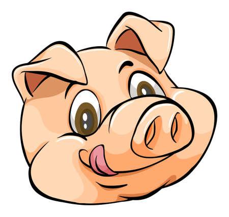 cerdos: Sonriente cara de un cerdo en el fondo blanco Vectores