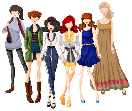 models: Group of models wearing fashionable clothes