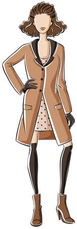 overcoat: Sketch of a woman in brown color dress and overcoat Illustration