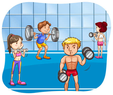 working out: People working out in the gym doing weightlifting Illustration