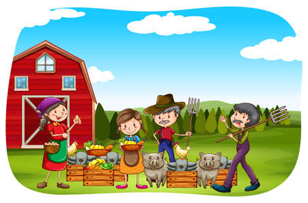 cartoon land: Farmers working in the field Illustration
