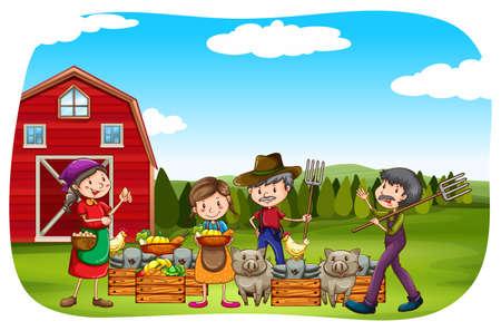 agricultor: Los agricultores que trabajan en el campo Vectores