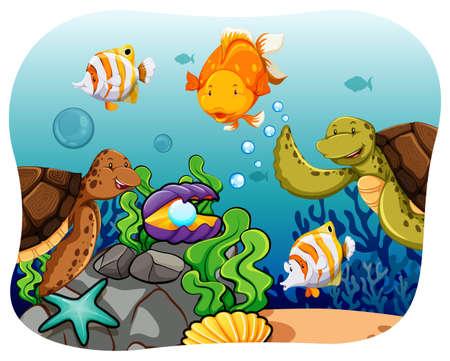 Animali acquatici presso il letto del mare