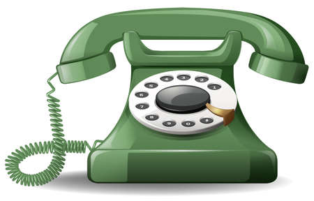 Close up green telephone in vintage design
