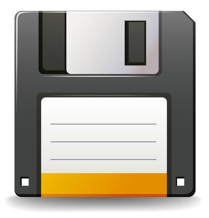floppy: Black color floppy disc on white background