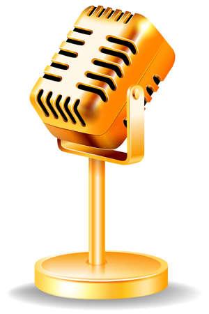 speaker: Closeup classic design of golden microphone