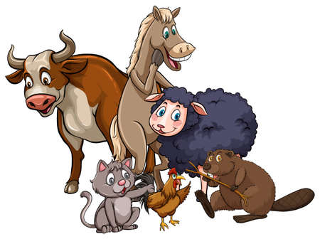 Different kind of farm animals together Illustration