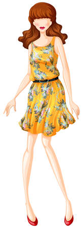 yellow dress: Female model in yellow dress with belt