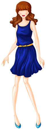 woman close up: Female model in blue dress with belt Illustration