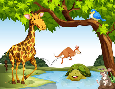 forest clipart: Many animals living by the river Illustration