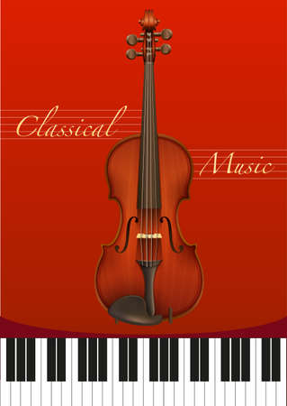 classical music: Classical music poster with violin and piano