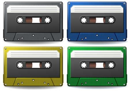 cassettes: Set of different color cassettes on white background Illustration