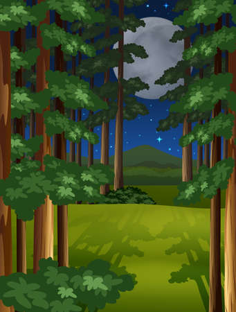 Night scene of the forest on fullmoon night Vector