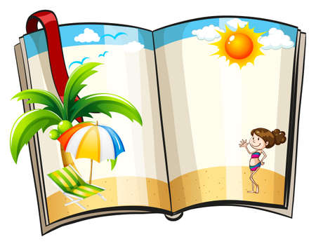 Open book with beach design template Vector