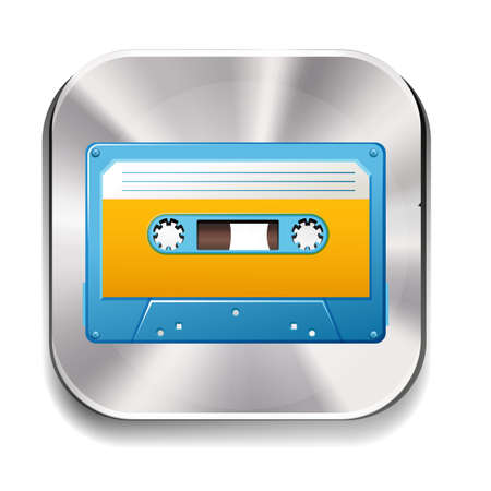 plastic backdrop: Icon of a retro cassette on white background