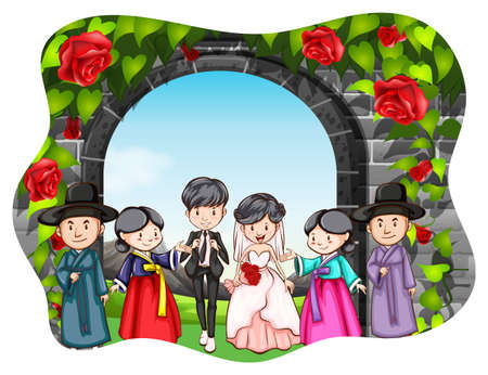 happy people: People looking happy at the Korean wedding ceremony Illustration