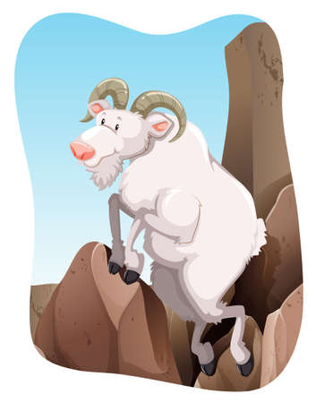 domestic goat: White goat climbing up a mountain Illustration