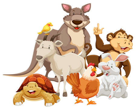 Group of mix wild animals smiling Vector