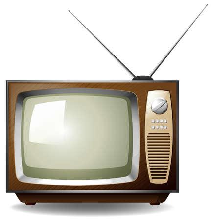 白い背景の上のレトロなスタイルのテレビ