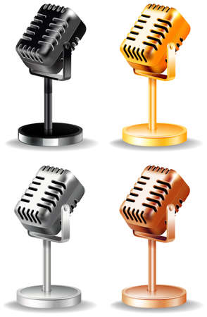 retro microphone: Classic design of microphone in four different colors Illustration
