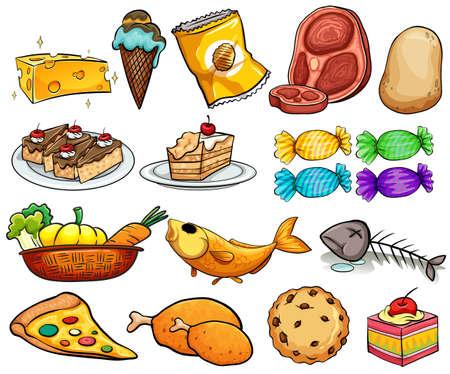 helado caricatura: Diferentes tipos de comida y postre Vectores
