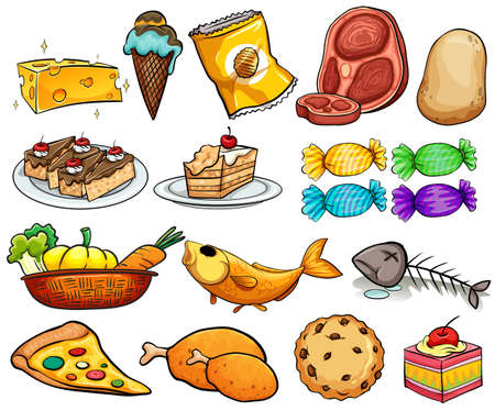 cartoon food: Different kind of food and dessert Illustration