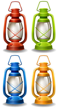 lamp light: Set of four different colors oil lamp Illustration